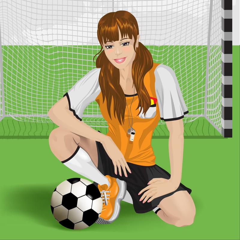 サッカーボールと女子